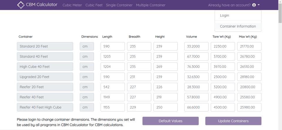 CBM Calculator - Container Management
